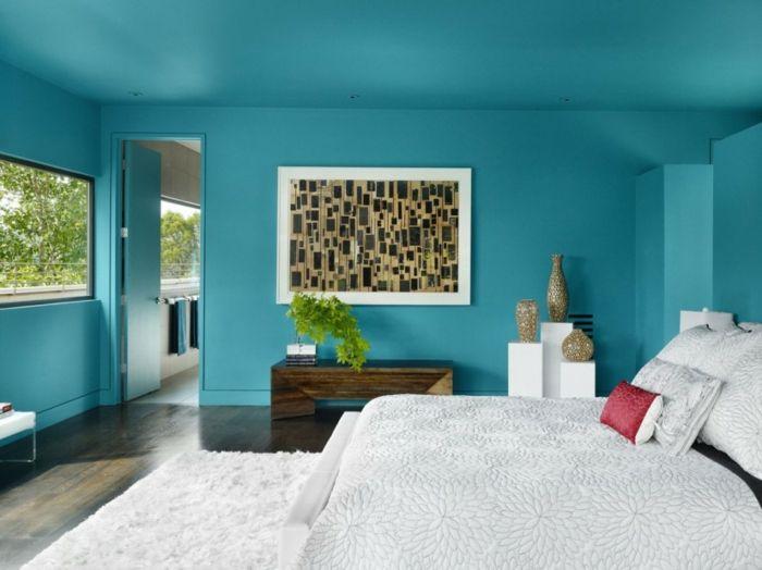 blaue wände gestalten - im schlafzimmer Interior design - schlafzimmer gestalten wnde