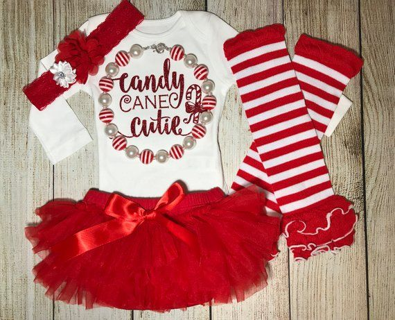 1d460c9e0 Baby Girl Christmas Outfit - Candy Cane Cutie Outfit - Baby Girl ...
