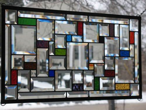 Beveled Sampler Stained Glass Window Panel by loveofstainedglass, $112.00