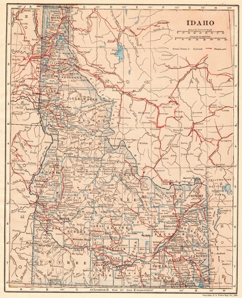 1914 Antique IDAHO Map Vintage State Map of Idaho Gallery ... on map of idaho balanced rock, map showing counties of idaho, map of idaho showing cities, map of idaho and montana, map of great basin usa, map of madison usa, map of sandpoint idaho and surrounding area, map of rocky mountains in idaho, map of osburn idaho, map of southern idaho, map of tensed idaho, map of jamaica usa, map of idaho capitol building, driggs idaho map usa, map of state of washington usa, map of northern idaho, map of idaho state, map of northwest territory usa, map of san antonio usa, map of idaho college,