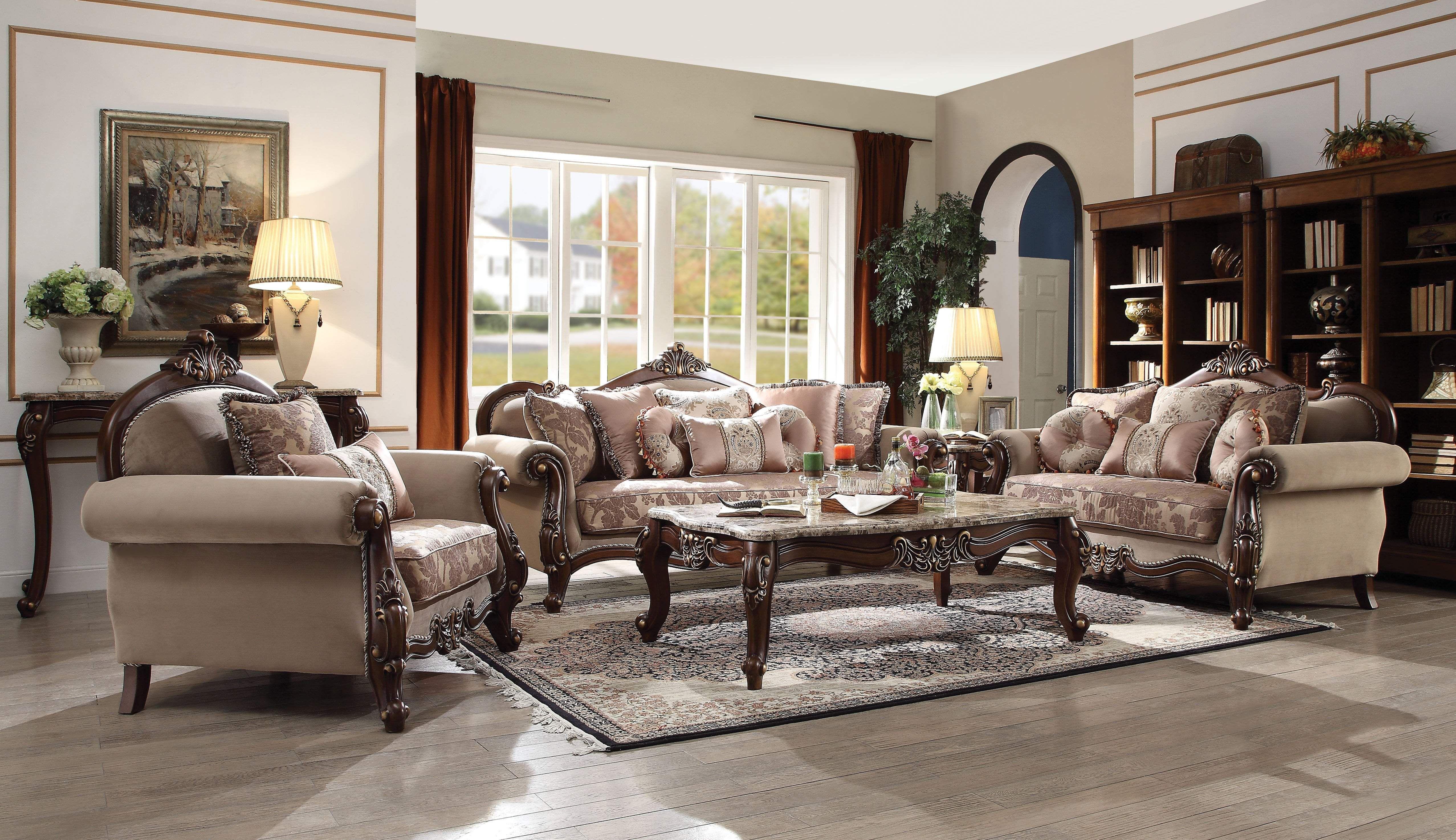Best Acme Mehadi In Fabric Walnut Finish 5 Pc Living Room Set 400 x 300