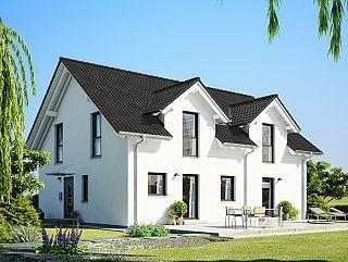 Ein modernes Zweifamilienhaus.Das moderne Zweifamilienhaus