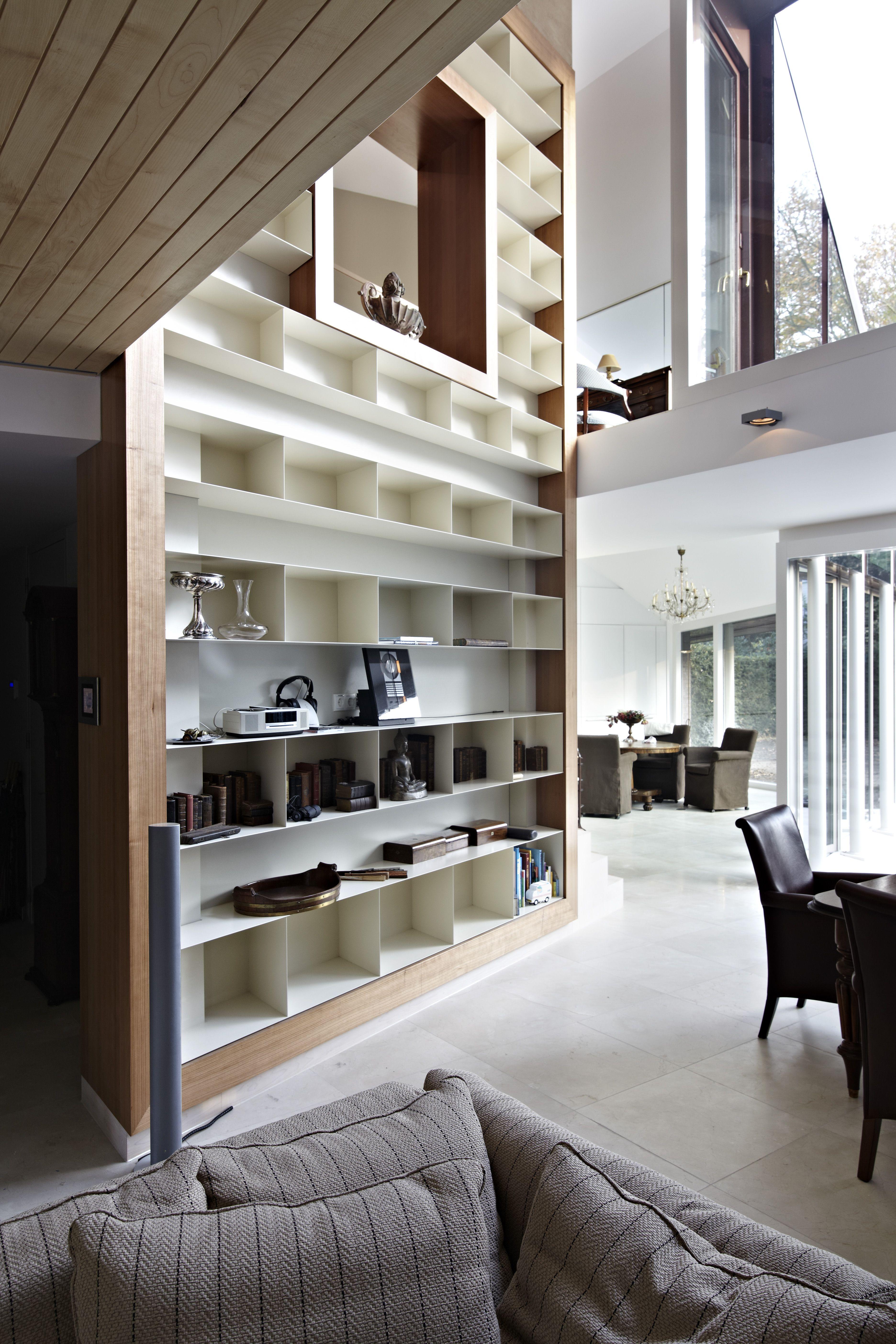 kersen fineer inbouwkast opmaat houtwerk boekenrek boekenkast
