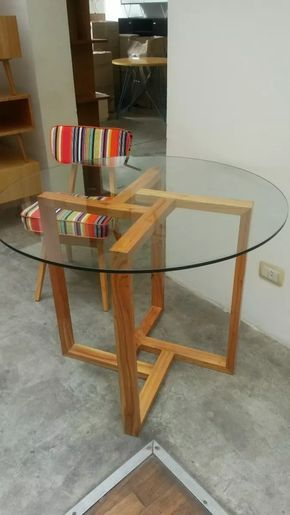 Mesa Comedor Redonda Madera Vidrio Diseno Moderno Mobler | Wood ...