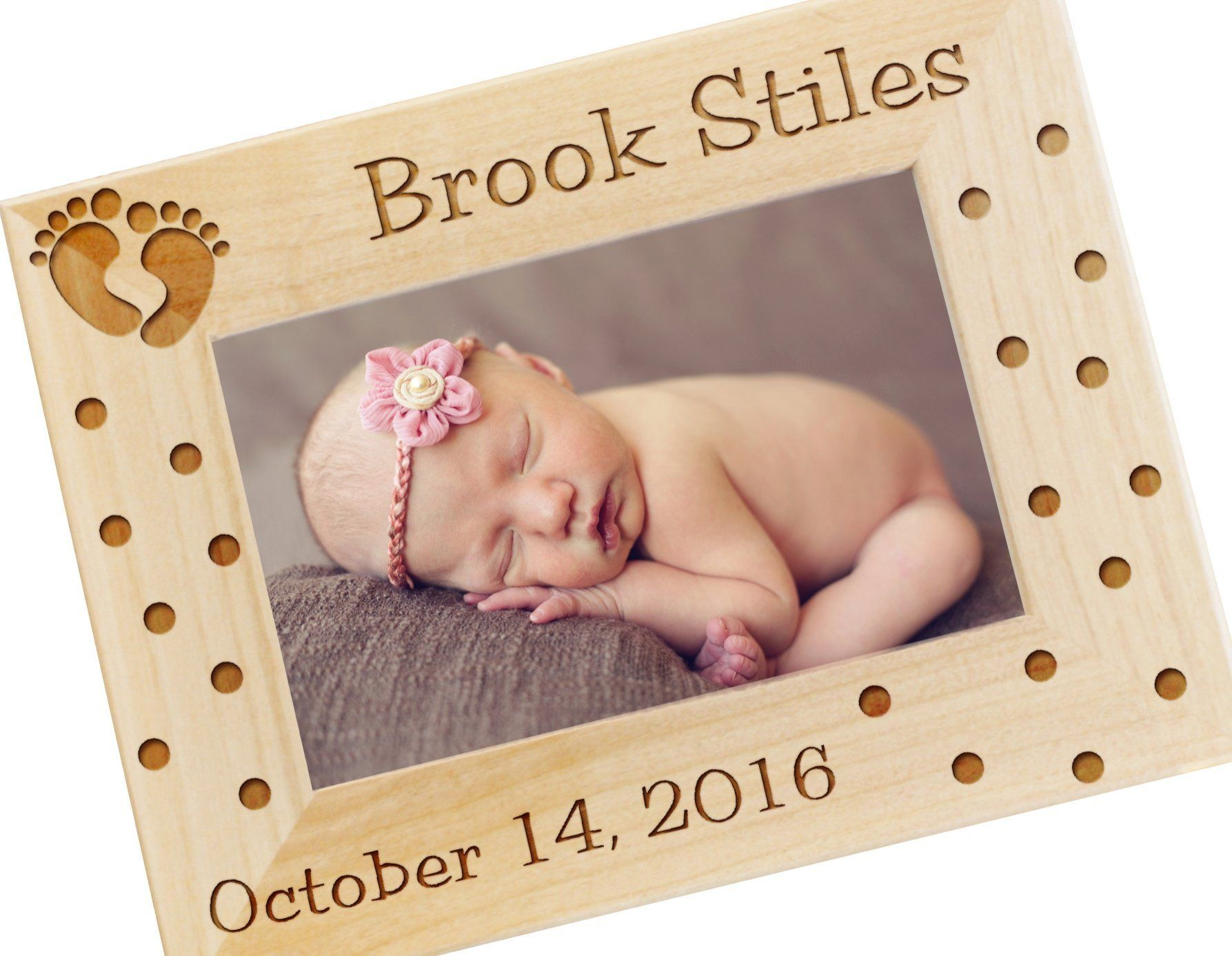 Personalized Newborn Baby Gift Photo Frame - Custom Engraved Wood ...
