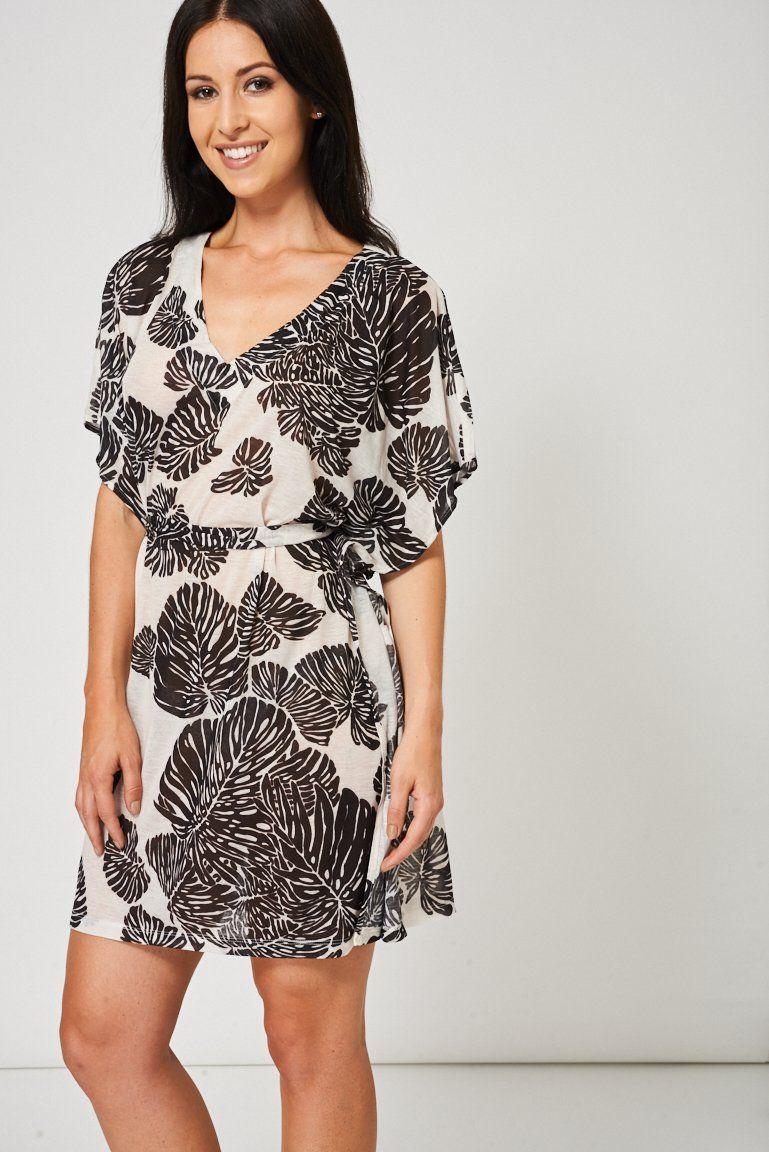 Monochrome Belted Dress With Tropical Pattern Ex-Branded #tropicalpattern