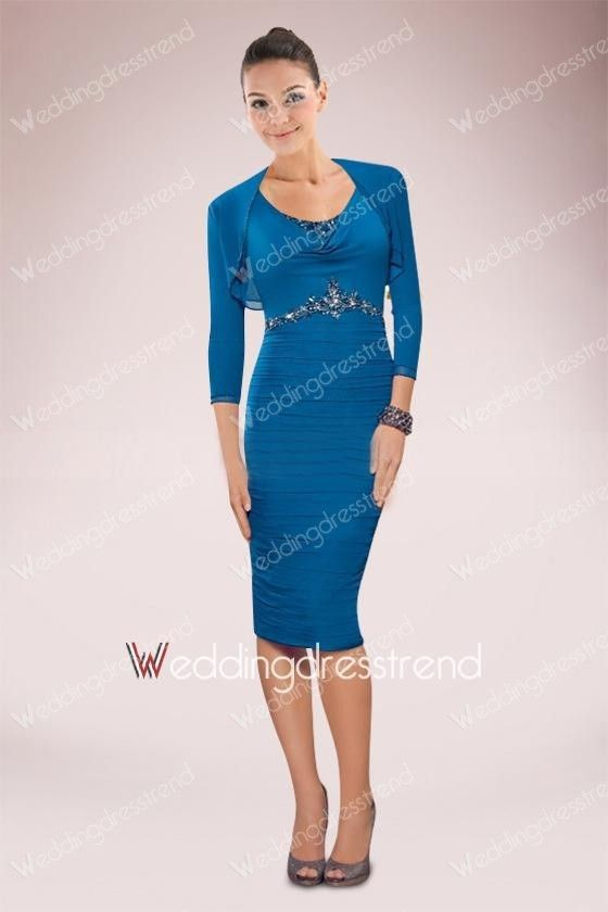 Beaded Ruched Scoop Neck Knee-length Sheath Mother of the Bride Dress