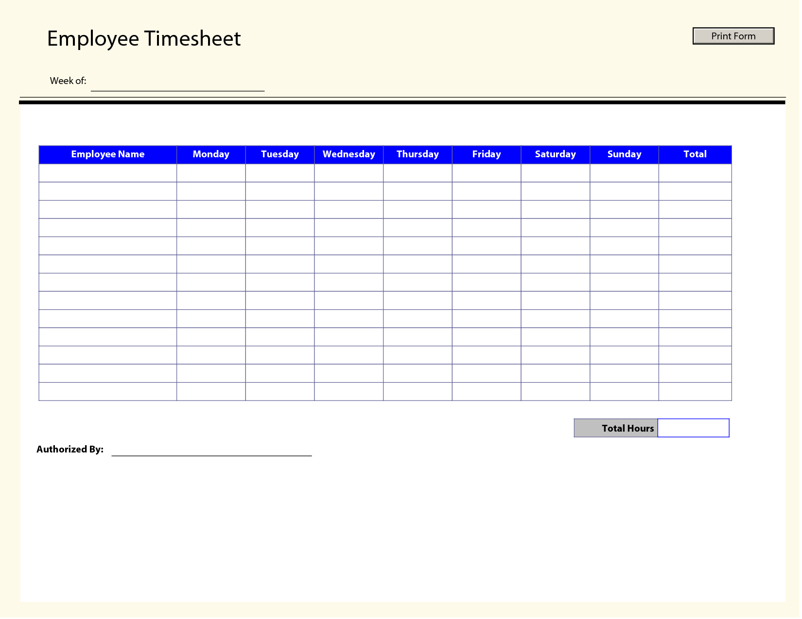 Printable Time Sheets  Free Printable Employee Timesheets