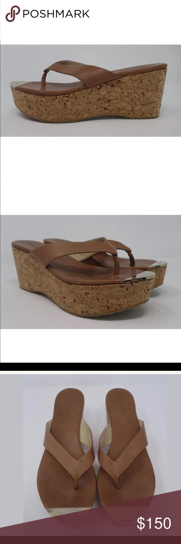 8e1b960a1 JIMMY CHOO Brown Leather Pathos Platform Sandals Designer  Jimmy Choo Size   IT 39 (
