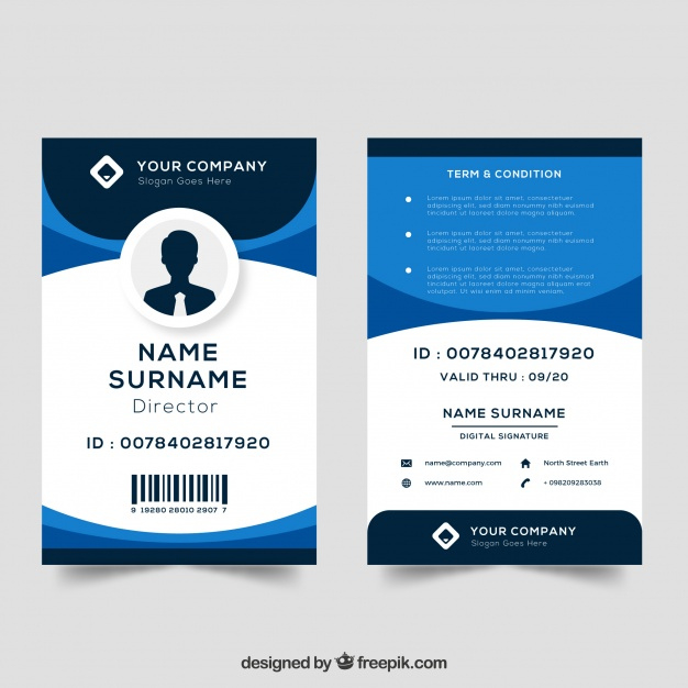 Download This Free Vector Id Card Template For Best Personal Identification Card Template In 2020 Id Card Template Employee Id Card Card Templates Free