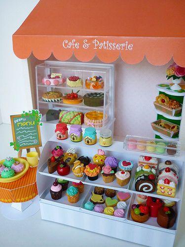 Mini cafe patisserie mini miniatures mini und mini cafe - Kuchen wanddekoration ...