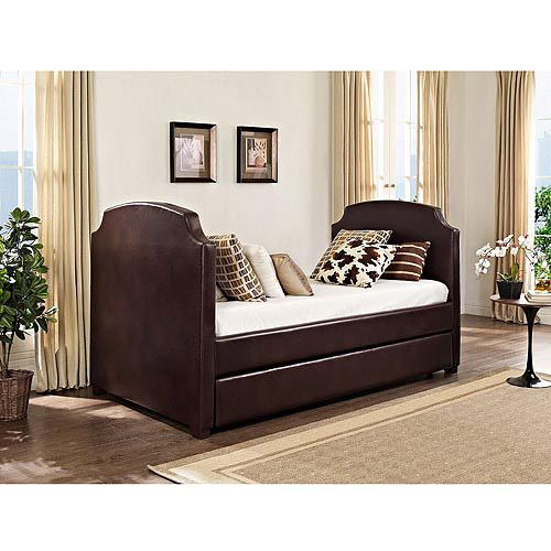 Maison Daybed and Trundle, Vintage Espresso Faux Leather: Furniture ...