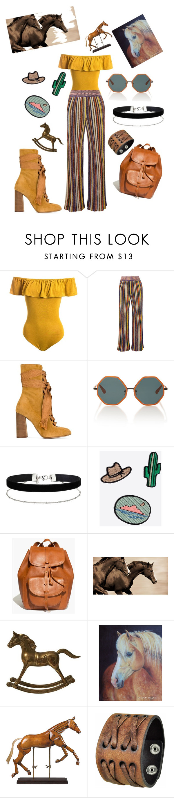 """🐎🐴"" by ellen000 ❤ liked on Polyvore featuring Sans Souci, Missoni, Chloé, Rosie Assoulin, Miss Selfridge, Madewell, Leftbank Art, Authentic Models and Nemesis"