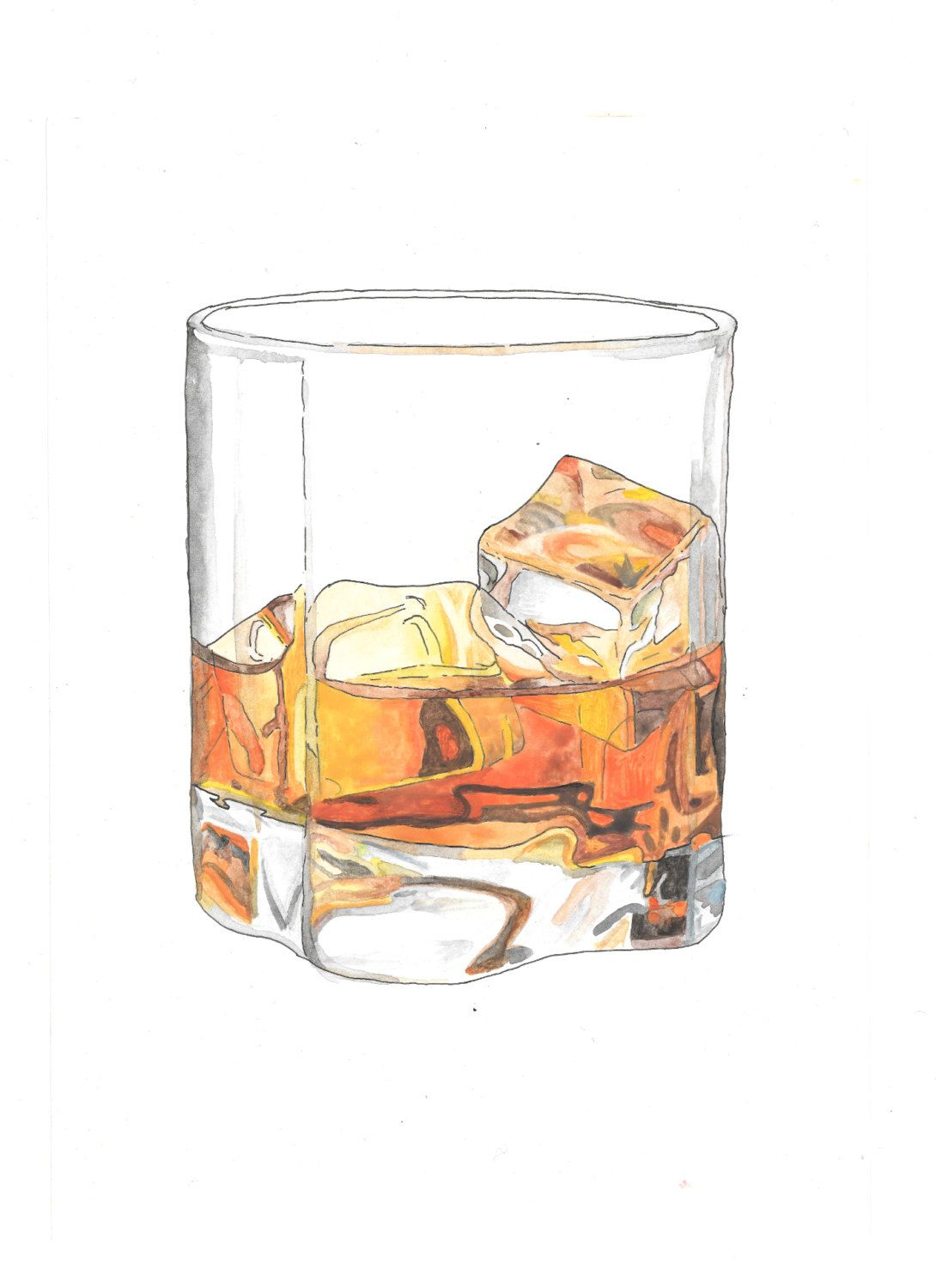 Photo of Glass of whiskey hand drawn watercolor illustration