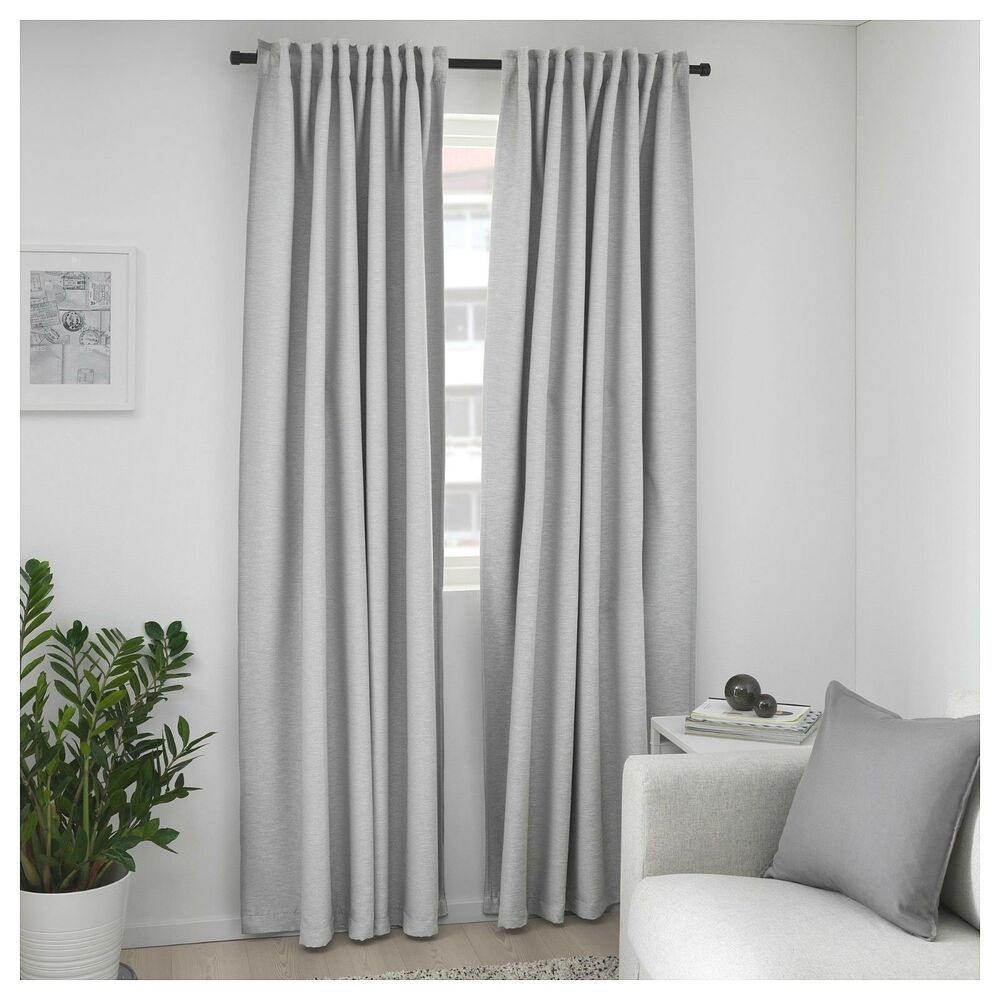 Ikea Vilborg Blackout Curtains 2 Panels Light Gray 57 - Ikea Gardinenstange Ebay