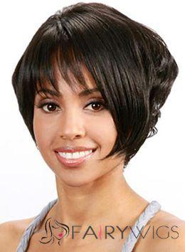 Short Wavy Black Side Bang African American Wigs for Women 10 Inch ... 983b10ac09