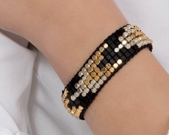 Photo of Black Gold Silver Bracelet for Women, Chunky Stack bracelets, Trendy Black Bracelet, Boho Jewelry Bracelet Gift, Everyday Beaded Bracelet
