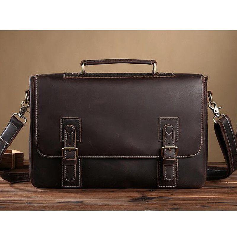 de82c090d3d1 ROCKCOW Handmade Mens Real Leather Briefcase Vintage Style messenger  Shoulder 14 inch Laptop Bag case handbag