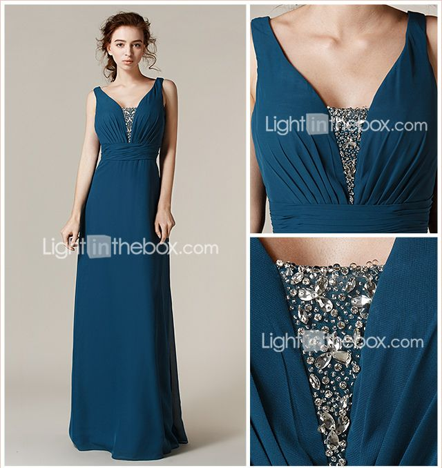 Floor-length Chiffon Bridesmaid Dress - Ink Blue Plus Sizes / Petite Sheath/Column Straps 2015 – $85.49