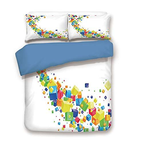 Duvet Cover Setblue Backabstract3d Wave Of Multicolored Cubes - Geometrical-shapes-on-bedding