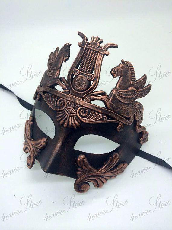 Copper Men Roman Warrior Venetian Masquerade Mask Metallic Sun God Mask