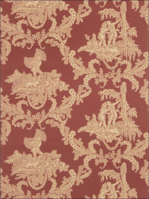 Hamlets Toile Red Wallpaper Brand Stroheim And Romann Book Charles Faudree Item