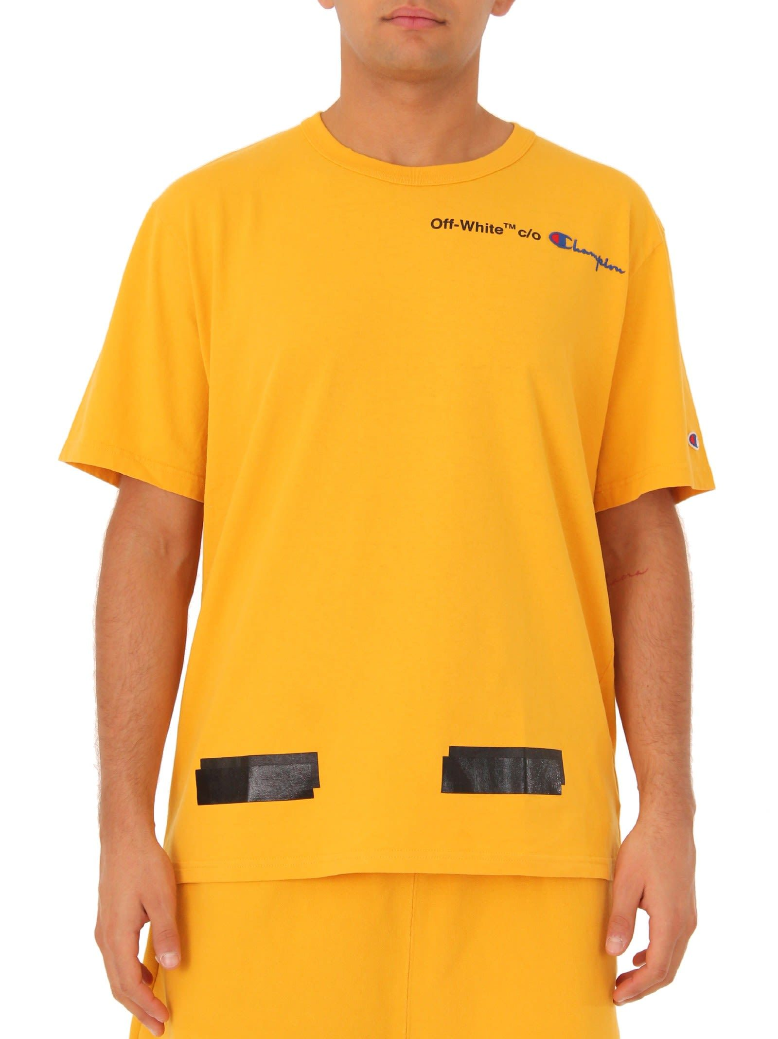 Off White Yellow Champion Reverse Weave Edition T Shirt Modesens Yellow T Shirt T Shirt Champion Reverse Weave
