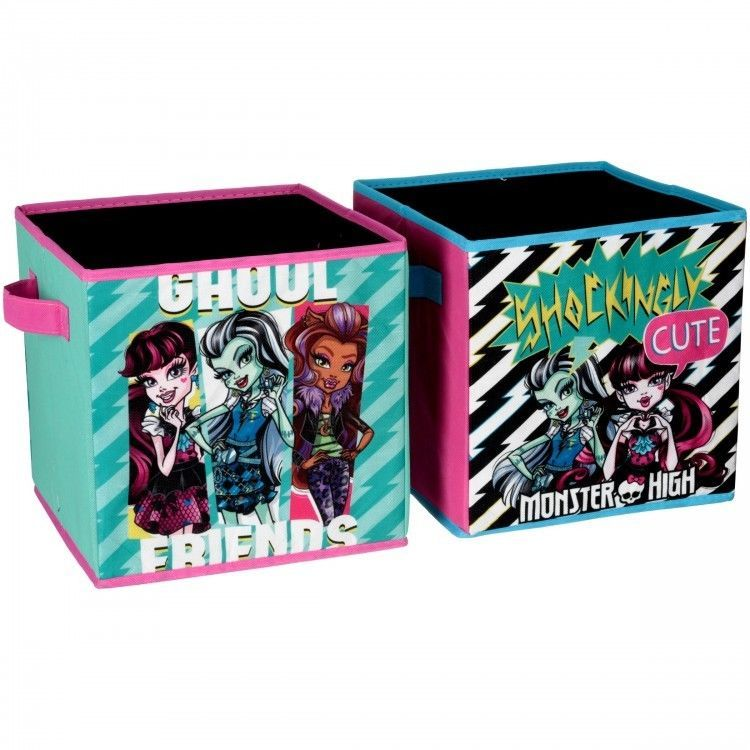 Monster High Storage Cube Set Of Two 10 X 10 Collapsible Cubes Playroom Toybox Mattel Collapsible Storage Cubes Cube Storage Storage Bins
