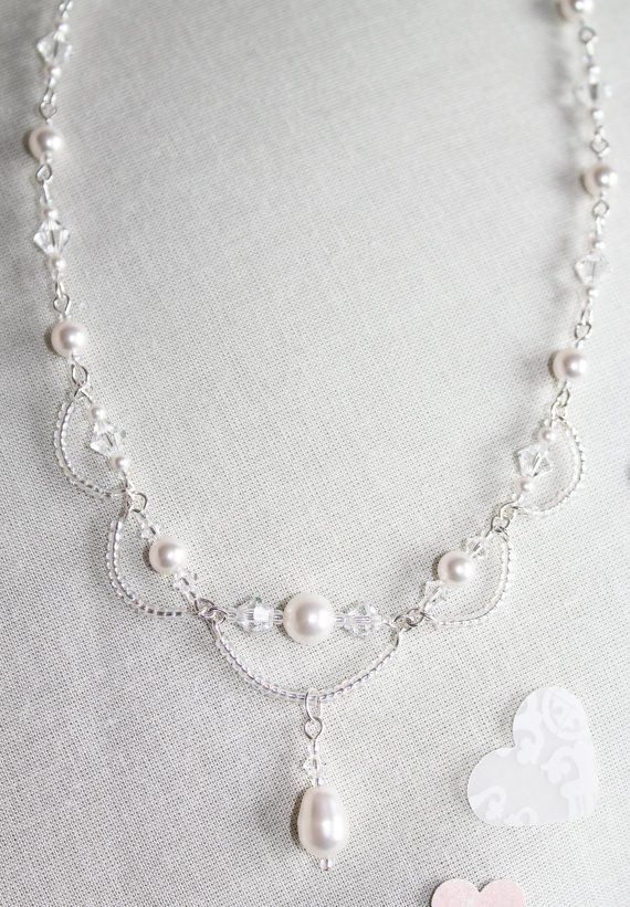 Swarovski Crystal and Pearl Necklace Made to order Pearl
