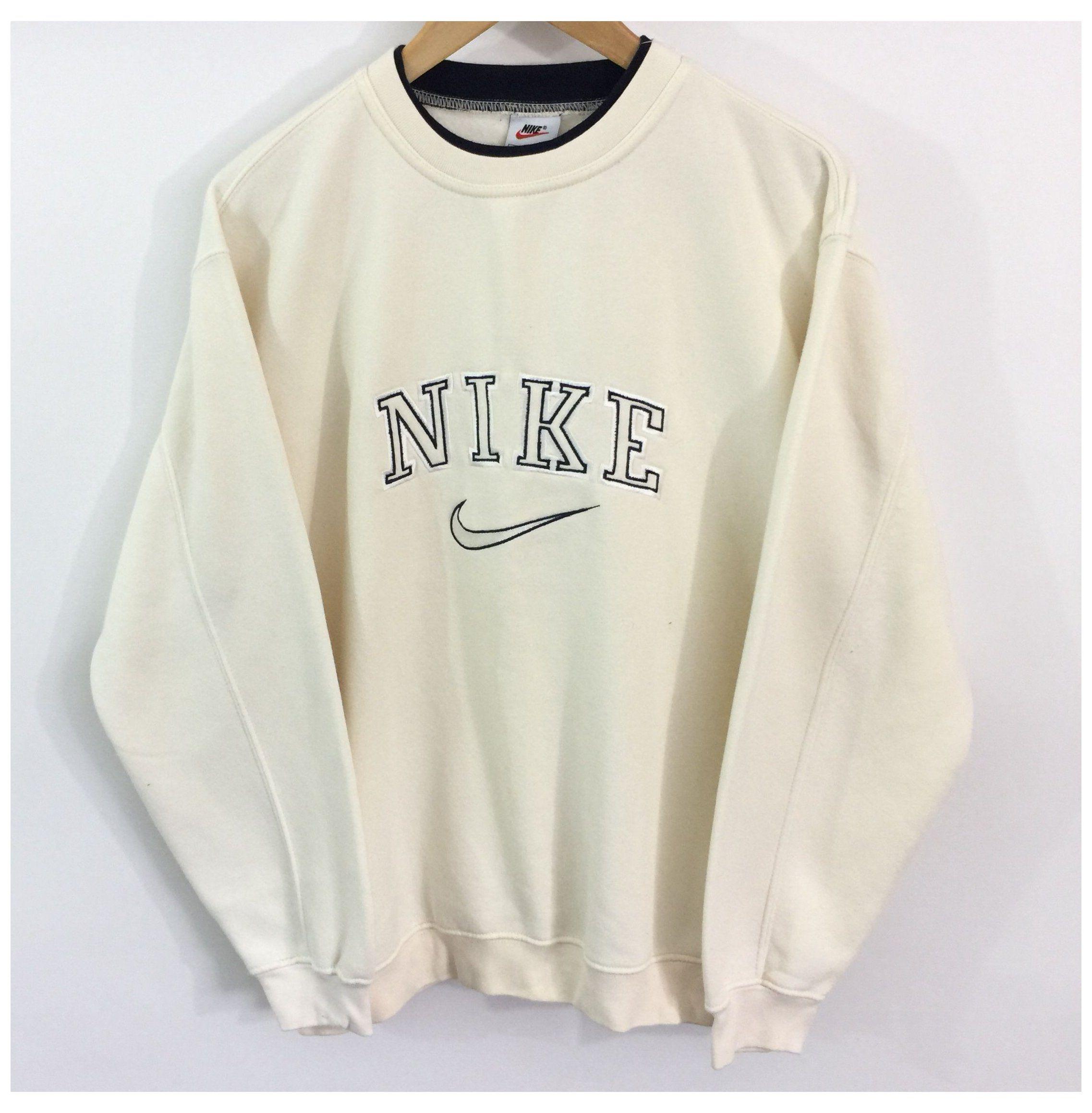 Vintage Nike Sweatshirt Label Size Medium Cream Depop Crewneck Sweatshirt Outfit Baddie Vin In 2020 Vintage Nike Sweatshirt Vintage Hoodies Retro Outfits
