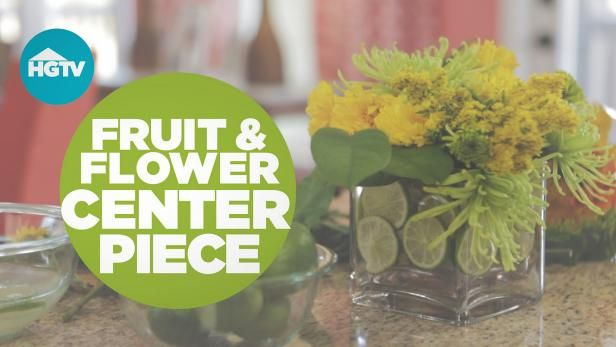 This simple centerpiece can be made with grocery store flowers and fruit.