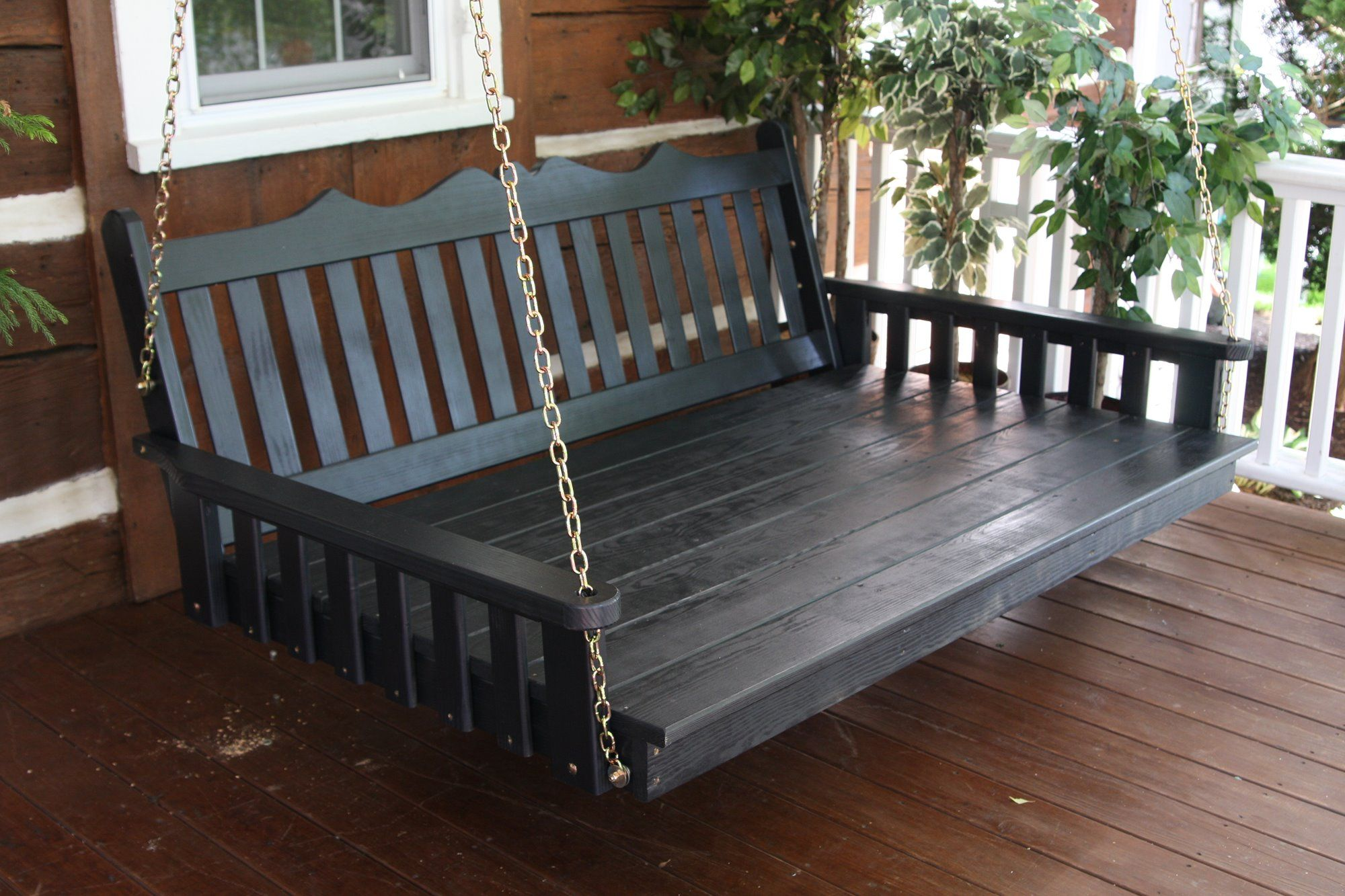 Outdoor 4 Foot Royal English Garden Porch Swing *Unfinished Pine* Amish Made USA