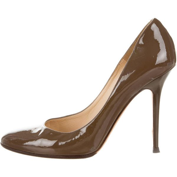 Pre-owned Jimmy Choo Patent Leather Pointed-Toe Pumps ($175) ❤ liked on Polyvore featuring shoes, pumps, brown, jimmy choo, patent pointed toe pumps, patent shoes, patent pointy toe pump and pointy-toe pumps
