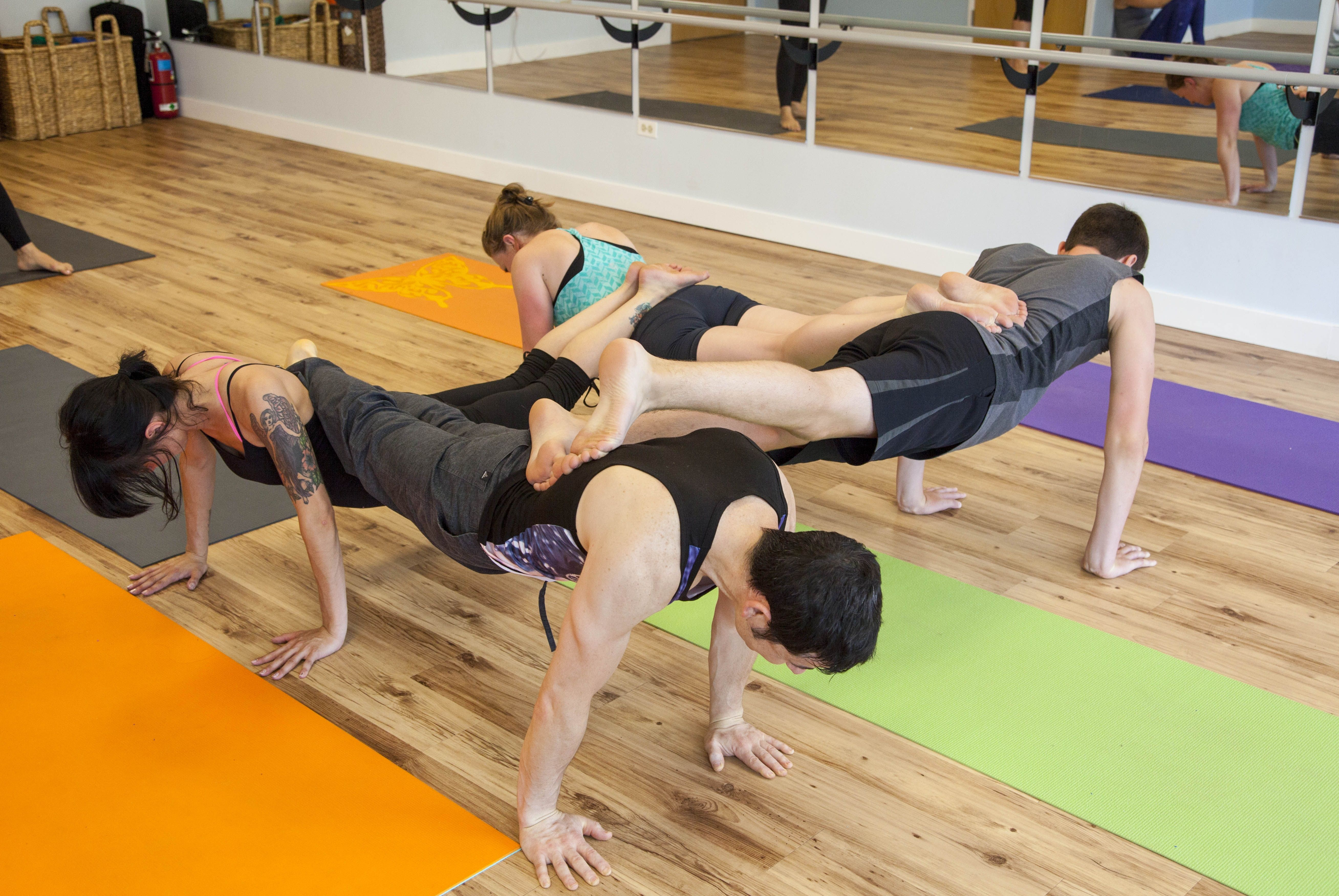 4 Person Pushup Jpg 5232 3504 Yoga Challenge Poses Yoga Poses Two People Yoga Poses