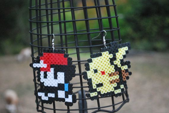 Red/Ash and Pikachu Earrings Made out of Perler Beads