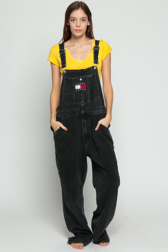 Tommy Hilfiger Overalls Pants Black Overalls 90s by ShopExile