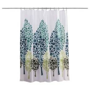 bd9bdafc3d77 Various shades of green make up the design of this Tree Alpine Shower  Curtain from Splash Home®. Large and small polka dots make up the leaves of  multiple ...