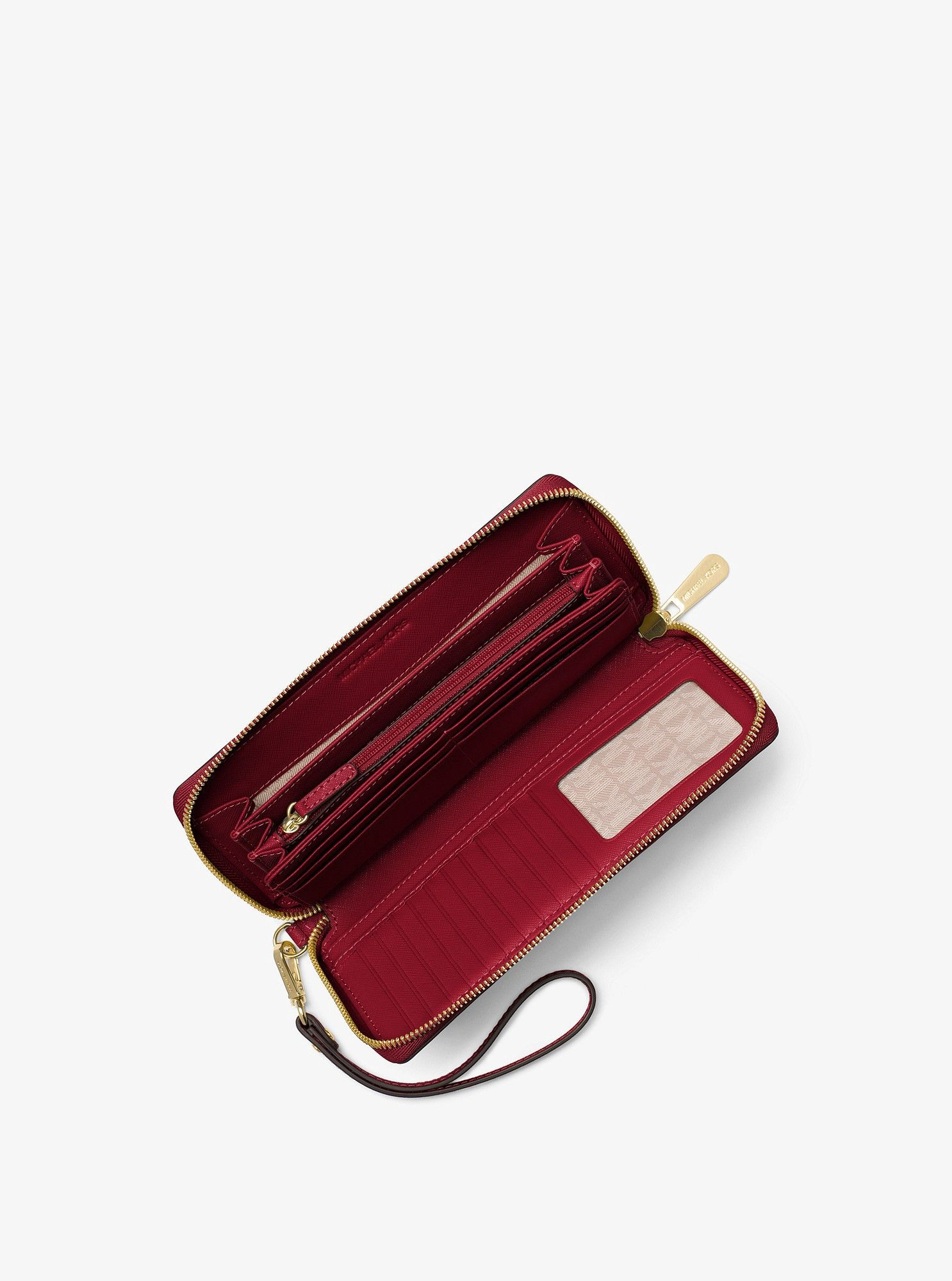 81cea0dc9001a Michael Kors Jet Set Travel Leather Continental Wristlet - Bright Red