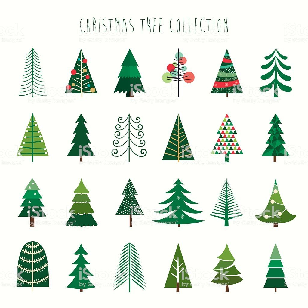 A Collection Of Twenty Four Decorative Trees Christmas Tree Drawing Christmas Tree Cards Christmas Tree Clipart