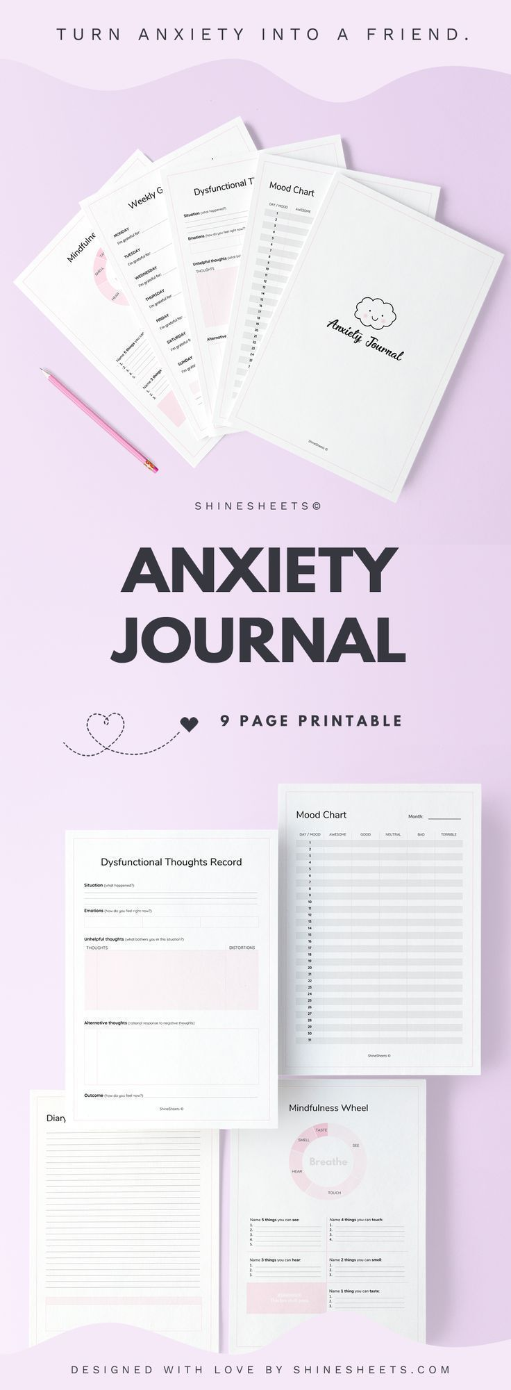 Anxiety Journal Printable / 9 Pages