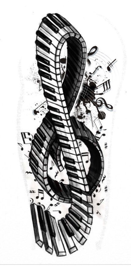I Love This Treble Clef Infused With Music Notes And Keyboard Design