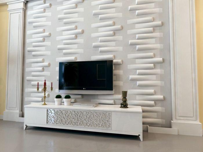 Tv wand design  3d paneele wohnzimmer gestalten wohnzimmer einrichten wandpaneele ...