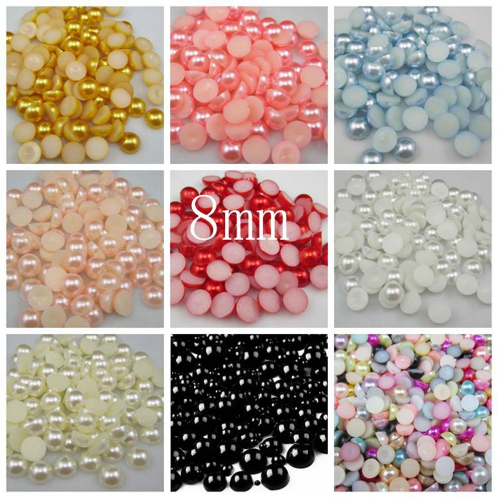 Craft Mixed Size Flatback Resin Nail Art ABS Imitation Half Round Pearls DIY NEW