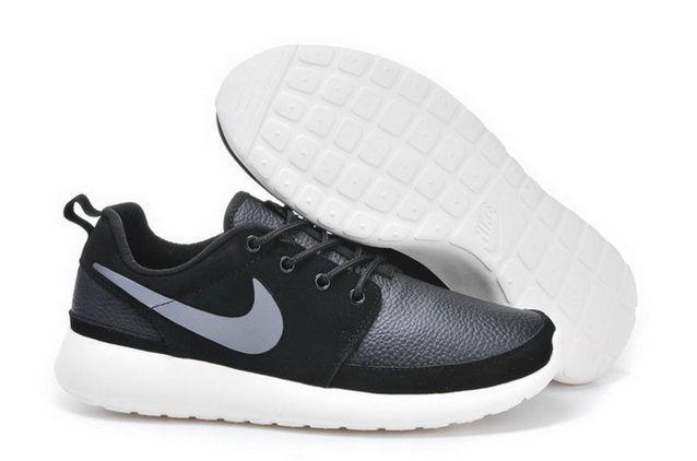 15acdb50c2 ... uk nike roshe run mens leather black silver white shoes 40867 96b55