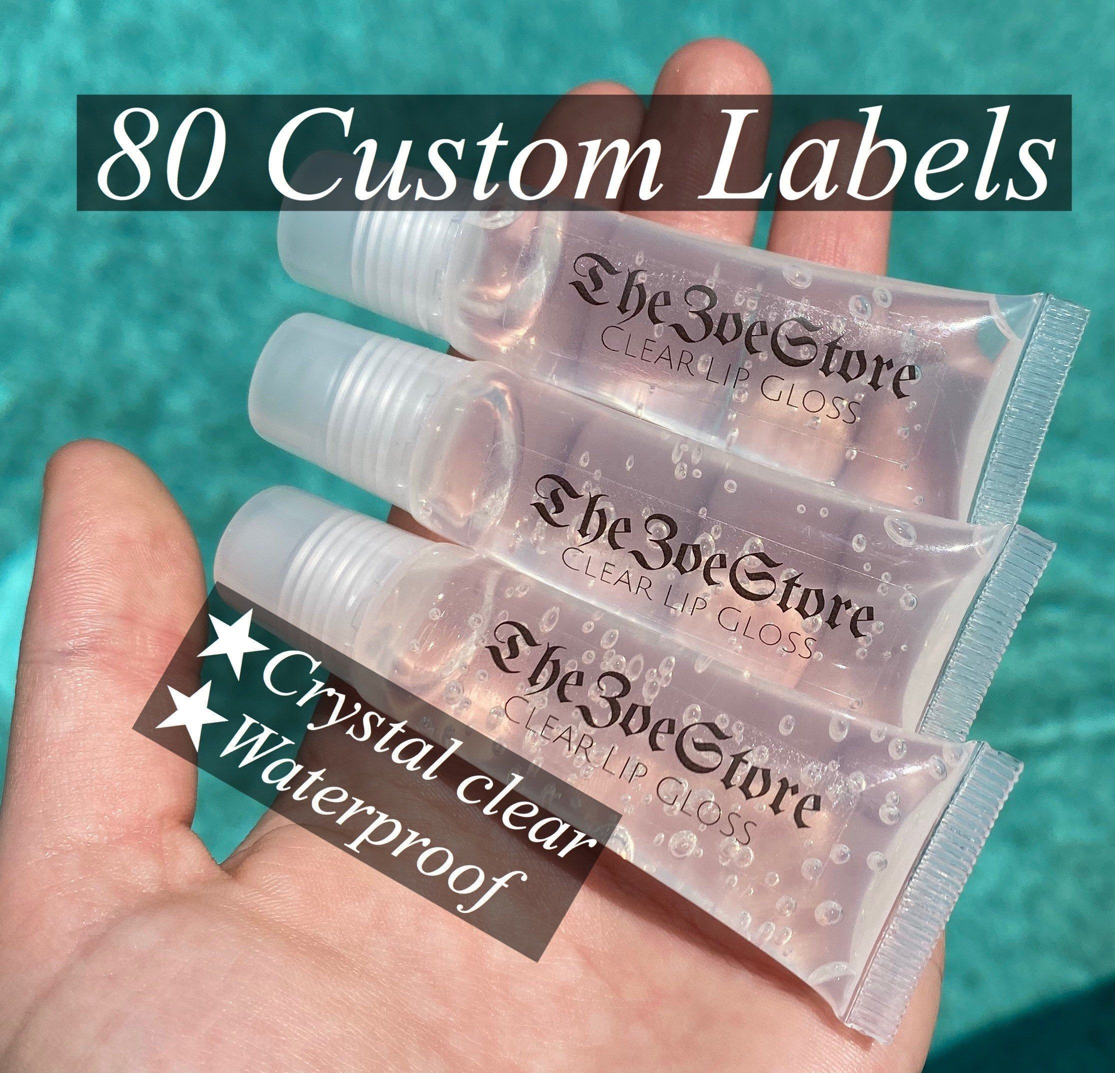 80 Custom Lip Gloss Labels Clear Labels 80 PER SHEET