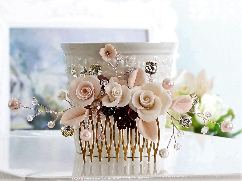 Blush pink bridal comb wedding comb floral vine hair
