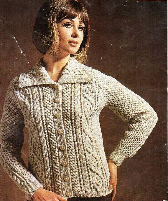 Vintage womens aran jacket knitting pattern pdf ladies cable vintage womens aran jacket knitting pattern pdf ladies cable cardigan 34 40 dk light dt1010fo