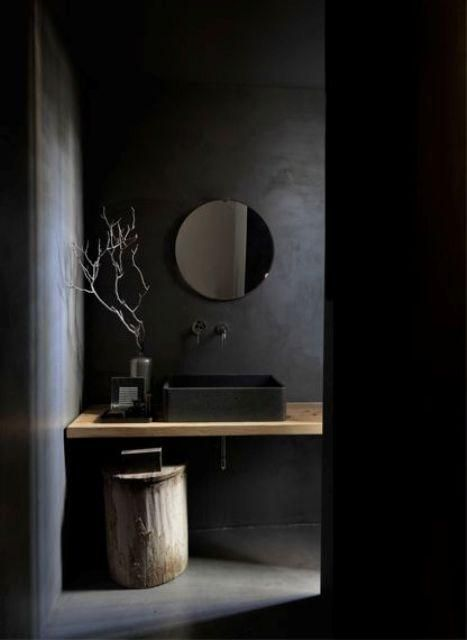 Wir verehren dunkle Räume, weil sie entspannend, mysteriös, ins Auge fallend und anders sind. So hier sind einige erstaunliche Badezimmerentwürfe in diesem Stil. #dunkleinnenräume