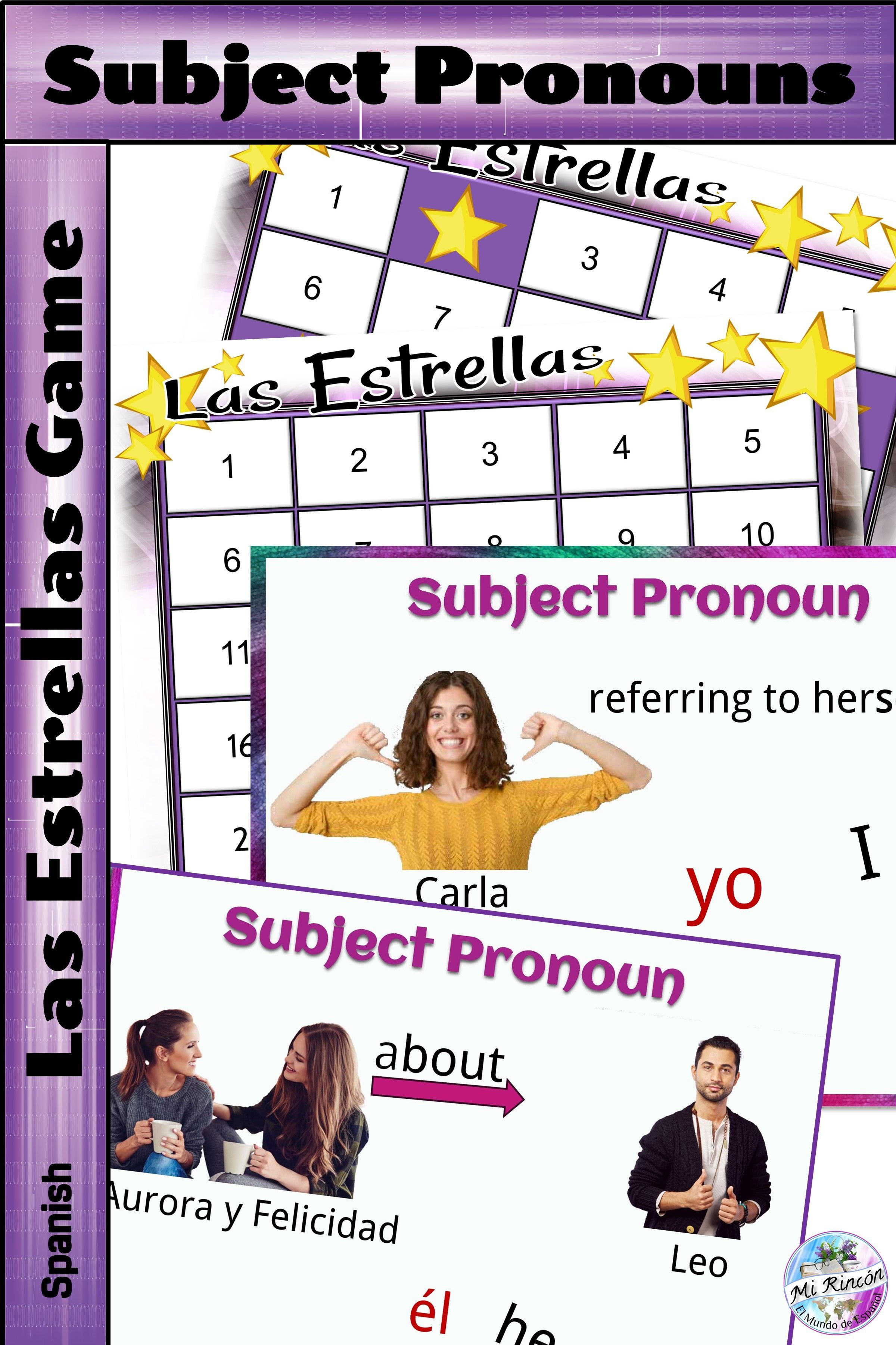 Use This Review Game To Practice Subject Pronouns In Different Situations Illustrated Wit Spanish Subject Pronouns Vocab Activities Spanish Learning Activities