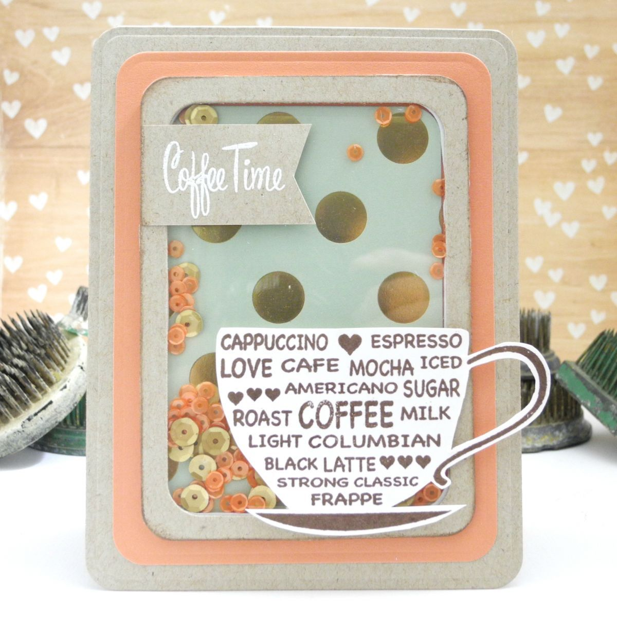 coffee time shaker card by jennifer ingle for spellbinders - Shaker Cafe Ideas